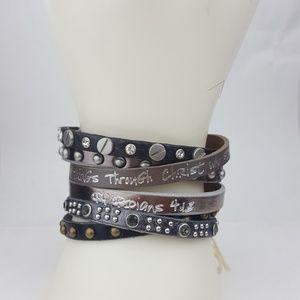 Good Works Silver Metallic Leather Bracelet